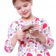Girl with paper money — Stock Photo #40315285