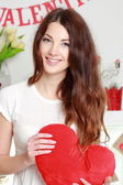 Girl in the on Valentine's Day — Stock Photo
