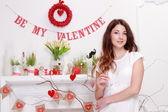 Girl on Valentine's Day — Stock Photo