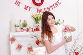 Woman over interior design on love concept — Stock Photo