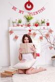 Girl holding vintage book — Foto de Stock