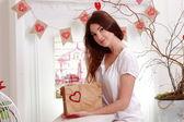 Woman holding vintage envelopes — Stock Photo