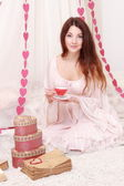 Girl with tea set — Photo