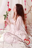 Red rose with smiling romantic girl — Foto de Stock