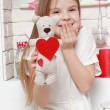 Girl over Valentine's day background — Stock Photo