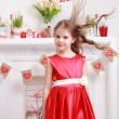 Foto Stock: Girl over Valentine Day background