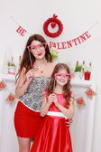Mother and daughter on Valentine Day — Stock Photo