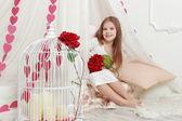 Flicka på st.valentine semester — Stockfoto