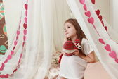 Girl on St.Valentine holiday — Stock Photo