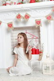 Girl with toys on St.Valentine holiday — Stock Photo