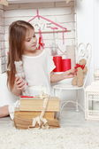 Dívka valentine den pozadí — Stock fotografie