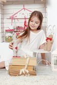 Girl over Valentine day background — Foto Stock