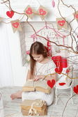 Girl over Valentine day background — ストック写真