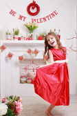 Girl over Valentine Day background — Stock Photo