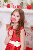 Girl over Valentine's day background — Stock Photo