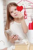 Girl over Valentine day background — Stock Photo