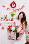 Girl over Valentine's Day interior — Stock fotografie