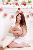 Woman over interior design on Valentine day — Stockfoto
