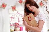 Woman over interior design on Valentine day — Stock fotografie