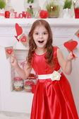 Girl over Valentine's holding hearts — Foto Stock