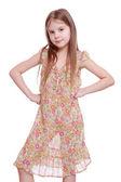 çiçekli elbise kız — Stok fotoğraf