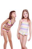 Little girls wearing summer swimsuits — Stock Photo