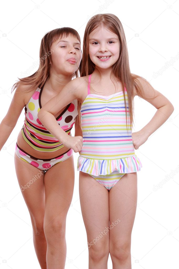 Little Girls Wearing Summer Swimsuits Stock Photo
