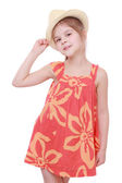 Girl in summer dress and straw hat — Stock Photo