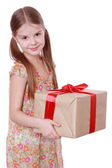 Girl with present box — Stock Photo
