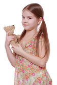 Girl with teddy bear — Stock Photo