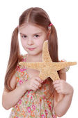 Starfish holding ragazza — Foto Stock