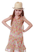 Girl wearing dress and straw hat — Stock Photo