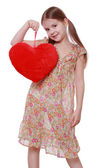 Girl holding red heart — Foto Stock