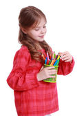 Kid with pencils — Stock Photo