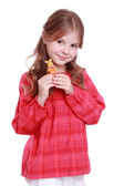 Little girl with adorable rabbit — Stock Photo