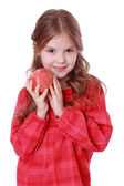 Girl holding pomegranate — Stock Photo