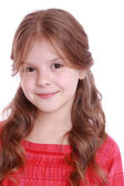 Little girl with healthy hair on white background — Stock Photo