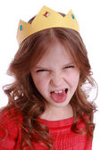 Girl with paper crown — Stock Photo
