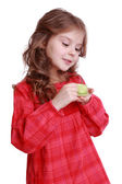 Girl with a tea set — Stock Photo