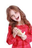 Bambina holding bambola angelo — Foto Stock