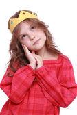 Chica con corona de papel — Foto de Stock