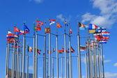 European flags on European square — Stock Photo
