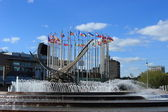 Europe square with fountain Abduction of Europa — Stock Photo