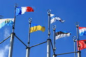 Flags on European square — Stock Photo