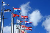 Flags on European square — Stock Photo