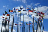 Flags on European square — Stockfoto