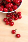 Sweet cherries in white bowl — Stok fotoğraf