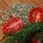 Ripe fresh tomatoes and herbs — Stock Photo #48738271