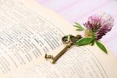 Old metal key on vintage book — Stock Photo
