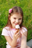 Little girl  with ice cream — Stock Photo